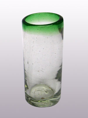 COLORED RIM GLASSWARE / 'Emerald Green Rim' Tequila shot glasses (set of 6)